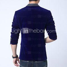 f8db64786132 Blazer De los hombres Un Color Casual   Trabajo   Tallas Grandes-Cachemira    Algodón