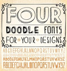 Handwriting fonts vector doodle letters by PerfectVectors on VectorStock®