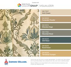 I found these colors with ColorSnap® Visualizer for iPhone by Sherwin-Williams: Irish Cream (SW Coriander Powder (SW Sheraton Sage (SW Mountain Road (SW Still Water (SW Rural Green (SW Tarnished Trumpet (SW