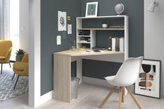 Bureau d'angle avec réhausse PEAK Imitation chêne et blanc - Bureau - Secrétaire BUT