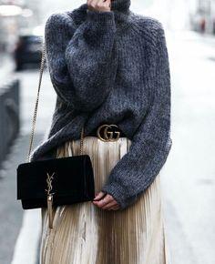 Metallic midi skirt, grey sweater, YSL bag and Gucci double G belt dc35544c254