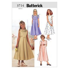 Butterick 3714 Teen Girls Raised-Waist Dress Sewing Pattern Sleeveless or Short Sleeves, Midi Length Size 16 Bust Uncut by PitterPatternPlace Sewing Patterns For Kids, Dress Sewing Patterns, Clothes Patterns, Patron Butterick, Girls Dresses, Flower Girl Dresses, Short Sleeve Dresses, Dresses With Sleeves, Short Sleeves