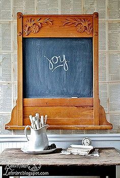 repurposed antique mirror frame into a chalkboard, furniture furniture revivals, repurposing upcycling