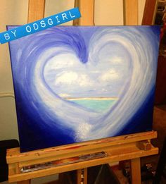 Custom Hand Painted on 16x20 Canvas 'Heart Wave' Free by ODsGirl, $50.00