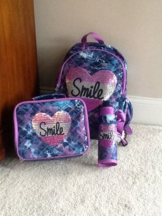 Backpack, lunchbox, and water bottle kit from justice!