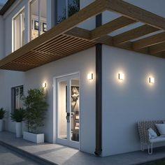 Pergola Ideas For Deck Outdoor Flush Mounts, Outdoor Wall Sconce, Outdoor Walls, Outdoor Lighting, Lighting Ideas, Modern Lighting, Minimalist House Design, Modern House Design, Modern Pergola Designs