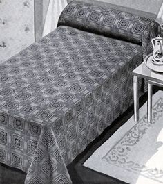 Berkeley Square Bedspread crochet pattern from Bedspreads, originally published by the Spool Cotton Company, Book 151, in 1940.