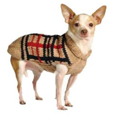Chilly Dog Tan Plaid Dog Sweater, X-Small