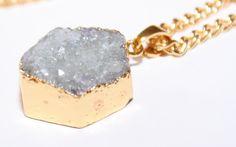 Druzy Necklace Druzy Hexagon Necklace Gold Necklace Druzy Necklace Sparkly Crystal Necklace