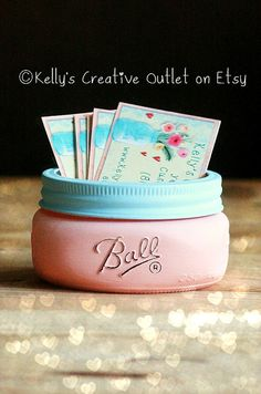Items similar to Business Card Holder - Office Decor - Mason jar - Card Holder for office - Supplies - Shabby Chic Decor - Cottage Decor - Gift for her on Etsy Vendor Displays, Craft Fair Displays, Vendor Booth, Booth Displays, Display Ideas, Vendor Table, Market Displays, Mason Jar Cards, Mason Jars