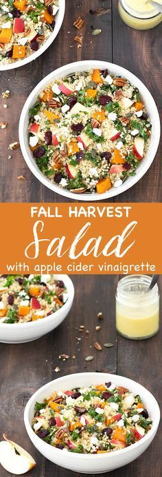 This fall harvest salad with apple cider vinaigrette is comforting, filling, colorful, and tastes absolutely amazing! It combines so many great textures and autumn flavors: roasted butternut squash, crunchy pumpkin seeds and pecans, crumbled feta cheese, sweet cranberries, crispy apples, nutty quinoa and hearty kale.