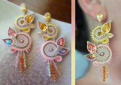 Soutache Soutache Earrings, Ring Earrings, Diy Crafts Jewelry, Beaded Embroidery, Jewelery, Shibori, Jewelry Design, Jewelry Making, Beads