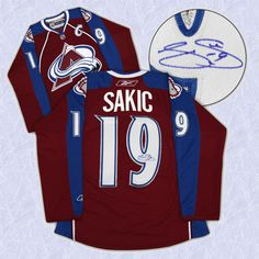Joe Sakic Colorado Avalanche Signed Jersey.  Joe Sakic is a 2012 Hockey Hall of Fame Inductee.
