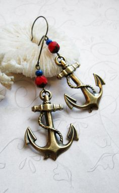 Brass anchor earrings nautical anchor charms red