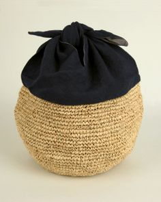 Azuma bag navy blue linen and raffia - from nakagawa-masachichi.jp
