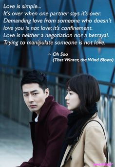 Jo In Sung, I heart you >.< That Winter, the Wind Blows quote: Jo In Sung as Oh Soo, Song Hye‑kyo as Oh Young. K Quotes, Movie Quotes, Funny Quotes, Drama Fever, Drama Drama, Jo In Sung, Korean Drama Quotes, Korean Actors, Korean Dramas
