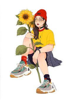 Cartoon Girl Drawing, Cartoon Art, Character Art, Character Design, Pretty Drawings, Sunflower Art, Illustration Sketches, Kawaii, Portrait Art