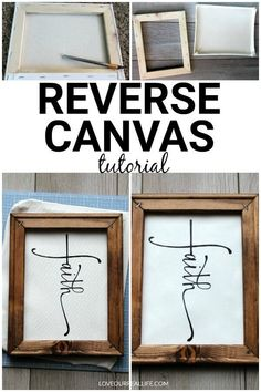 Reverse Canvas DIY Signs // What Are They and how to Make Your Own! ⋆ Love Our Real Life - Reverse canvas tutorial! Whether you are considering reverse canvas with vinyl or painting, this si - Canvas Crafts, Vinyl Crafts, Diy Canvas, Vinyl Canvas Ideas, Cricut Vinyl Projects, Canvas Decor Diy, Cricut Tutorials, Wood Canvas, Michaels Craft
