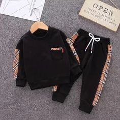 """Product Name: """"Bur-Baby"""" Sweater + Pants Colorways: Multicolor Style: Set Material: High Quality Cotton Fit: True to size, order according to size chart. Luxury Baby Clothes, Designer Baby Clothes, Cute Baby Boy Outfits, Cute Baby Clothes, Baby Girl Fashion, Kids Fashion, Baby Dress, 18 Months, Long Sleeve"""