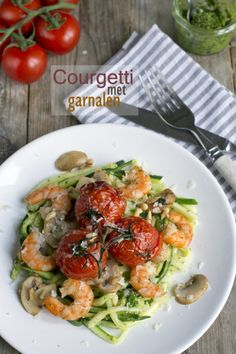 Spagetti zonder pasta: courgetti met garnalen
