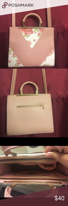 """Pale pink purse Pale pink. Floral embellishments. Gold hardware. Approx. 12""""x12"""" removable strap. Only carried about a week. Bags Shoulder Bags"""