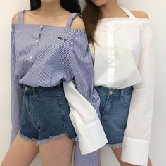 blue stripy shirt white denim shorts korean k fashion ulzzang 얼짱 summer casual outfits clothes street everyday comfy aesthetic soft minimalistic kawaii cute g e o r g i a n a : c l o t h e s Cute Fashion, Girl Fashion, Fashion Outfits, Womens Fashion, 90s Fashion, Fashion Clothes, Street Fashion, Fashion Ideas, Autumn Fashion