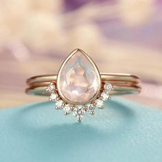 Rose Quartz Engagement Ring Rose Gold engagement ring Vintage Diamond Wedding ring set Women Bridal jewelry Pear Shaped Cut Stacking Promise You may be interested in other stones https://www.etsy.com/shop/HelloRing?ref=l2-shop-header-avatar&section_id=21423423 Rings can be ordered