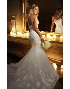 Herz-Ausschnitt Spitze Sommer Brautkleider 2014