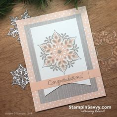 snowflake showcase cards congrats cards, stampin up, stampin savvy, tammy beard Stamped Christmas Cards, Xmas Cards, Holiday Cards, Snowflake Cards, Snowflakes, Karten Diy, Christmas Origami, Stamping Up Cards, Card Patterns