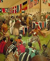 Waitangi Day - NZ's national holiday.   February 6 marks the 1840 signing of the Treaty of Waitangi - New Zealand's founding document. (An artistic representation of the Treaty of Waitangi signing [don't think the Flags of All Nations were actually there, LOL!]. Painting by Leonard Mitchell, 1901-1971.)