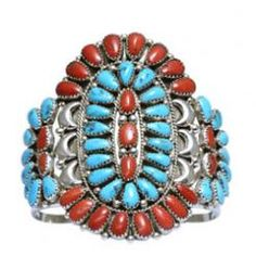 Navajo Coral & Turquoise Clustered Bracelet