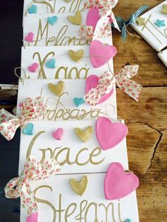 A personal favourite from my Etsy shop https://www.etsy.com/listing/270482103/name-signs-door-hanger