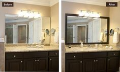 DIY bathroom makeover with a mirror frame. Easy but pretty!