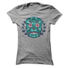 Blue and Teal Sugar Skull Laurel Leaf Tshirt