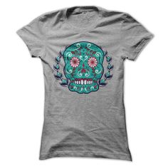 [Cool tshirt name meaning] Blue and Teal Sugar Skull Laurel Leaf Tshirt Coupon Best Hoodies, Funny Tee Shirts