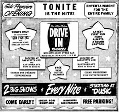 Drive In Theater, Theatres, Nostalgia, Ads, Entertaining, Movies, Films, Drive Inn Theater, Cinema