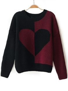 To find out about the Red Black Long Sleeve Heart Pattern Knit Sweater at SHEIN, part of our latest Sweaters ready to shop online today! Crochet Hat For Women, Crochet Woman, Red Sweaters, Sweaters For Women, Heart Sweater, Half Sleeve Dresses, Heart Patterns, Pulls, Pretty Outfits