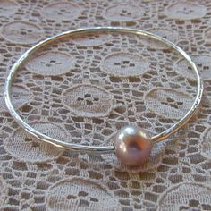 Pearl Bangle, Sterling Silver, Pink Freshwater Pearl, Bridal Jewelry, Bridesmaid Gift Idea, Wedding Accessory, Hammered Bracelet, Love by HanaMauiCreations on Etsy