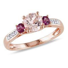 #Valentines #AdoreWe #Zales - #Zales 6.0mm Morganite, Pink Tourmaline and Diamond Accent Three Stone Ring in 10K Rose Gold - AdoreWe.com