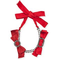 Lanvin Red Bow Crystal Choker Necklace ($1,690) ❤ liked on Polyvore featuring jewelry, necklaces, red, bow choker, bow necklace, red choker, crystal stone necklace and crystal jewelry