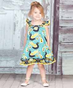 Teal & Yellow Lilac Swirl Dress - Infant, Toddler & Girls