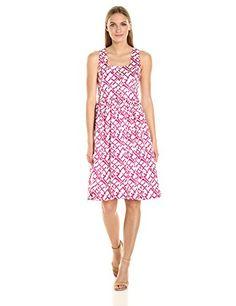 62e46ba107f Helene Berman Women s Pink Abstract Print Sundress at Amazon Women s  Clothing store