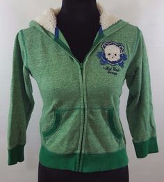 7fed62a0193 Sonoma Girls Fleece Hoodie Jacket Size L Green With Skull Graphic Hot Rod  Garage  Sonoma