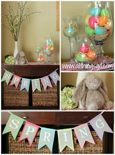 Spring and Easter decorations. Love the flag hanging that says Spring. Totally going to make this and put it on my mantel!