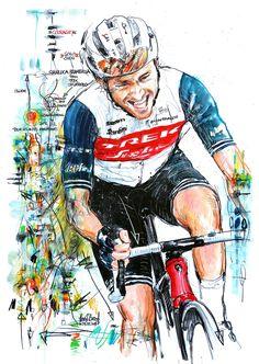 """""""COURAGE!"""" Gianluca Brambilla, Trek Segafredo, gewinnt die 3. Etappe und die Gesamtwertung der Tour des Alpes Maritimes 2021 (100x70cm) Cycling Art, Mtb, Trek, Spiderman, Bicycle, Superhero, History, Spin, Illustration"""