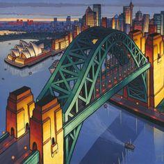 Jim Edwards ~ 'Sydney Harbour' I was commissioned to paint Sydney, which was… Sydney City, Sydney Harbour Bridge, Unique Buildings, Art For Art Sake, Australian Artists, Sydney Australia, Contemporary Paintings, Newcastle, Landscape Paintings