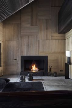 Around the fireplace in an interior architecture project in Saint Moritz by Studio Liaigre. Home Interior Design, Interior Architecture, Interior Office, Interior Livingroom, Interior Ideas, New York Penthouse, Mayfair, Living Tv, Christian Liaigre
