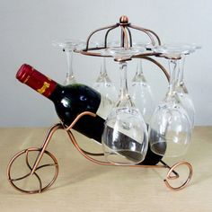 Creative Tricycle Metal Wine Rack Red Wine Bottle Glasses Home Bar Decorations Wine Holder Hanging Cup Display Rack