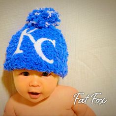 Kansas City Royals Crochet Baby Hat World Series Baseball Child Party Like its 1985 #beroyal #blueoctober  by FatFoxDesigns on Etsy