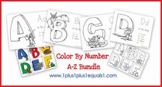 Color by Number Alphabet Printables from www.1plus1plus1equals1.net